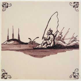 Antique Delft tile in manganese with a fisherman