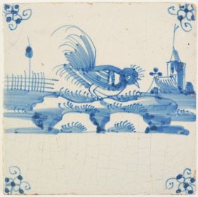 Antique Delft tile with a rooster picking seeds, 18th century