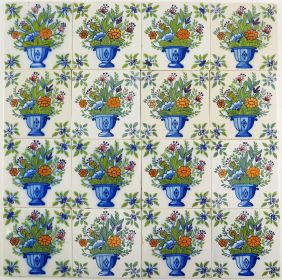 Antique Delft polychrome wall tiles with richly decorated flower vases, 19th and 20th century