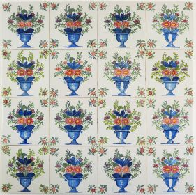 Antique Delft polychrome wall tiles with richly decorated flower vases, 19th century Tichelaar Makkum
