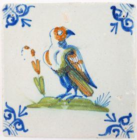 Antique Delft tile with a beautiful poychrome hawk, 17th century