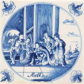 Antique Delft tile with the Three Wise Men visiting baby Jesus, 18th century