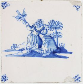 Antique Delft tile depicting Elijah being fed by ravens, 17th century