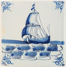 Antique Delft tile in blue with a cargo boat under sail, 17th century Harlingen