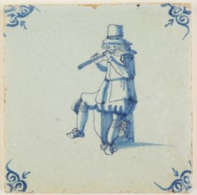 Antique Delft tile in blue depicting a musician playing the flute, 17th century