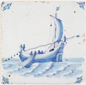 Antique Delft tile in blue with a herring buss reeling in the net, 17th century Harlingen
