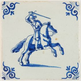 Antique Delft tile in blue with a horseman swinging his sword, 17th century