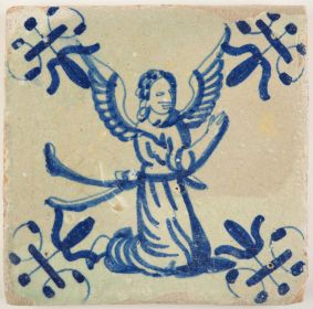 Antique Delft tile in blue depicting an angel in a kneeling position, 17th century
