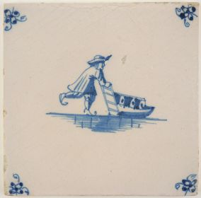 Antique Delft tile in blue with a man transporting goods on a sledge, 18th century