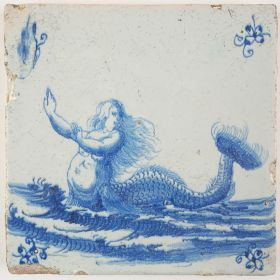 Antique Delft tile in blue with a mermaid holding up her hands, 17th century