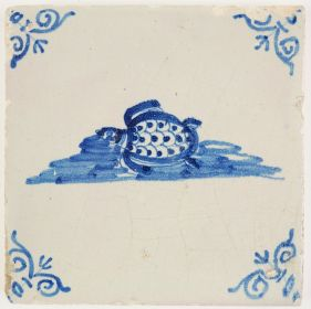 Antique Delft tile in blue depicting a turtle swimming in water, 17th century