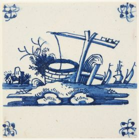 Antique Delft tile in blue with a well, 18th century