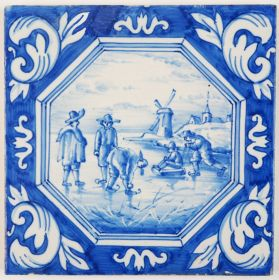 Antique Delft tile depicting a winter scene in a typical Dutch landscape, 19th century