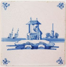 Antique Delft tile in blue with a woman lifting water from a well, 18th century