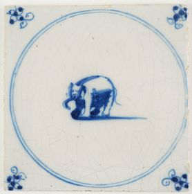 Antique Delft tile in blue with an elephant, 18th century