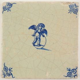 Antique Delft tile in blue with Cupid playing with a hoop, 17th century