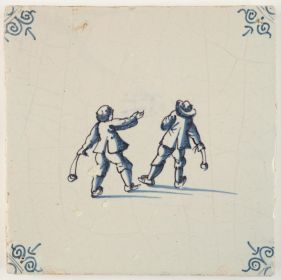 Antique Delft tile in blue with two children playing with slingshots, 17th century