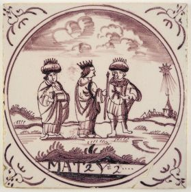 Antique Delft tile depicting the Three Kings following the Star of Bethlehem, 18th century
