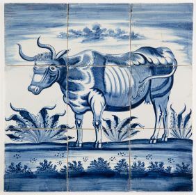 Antique Delft tile mural with a cow in blue based on an engraving by Paulus Potter, 18th century