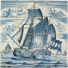 Antique Delft tile mural in blue depicting a koff ship under sail, 18th - 19th century