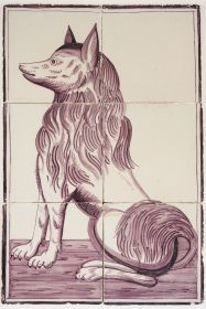 Antique Delft tile mural in manganese with a barge dog, 19th century