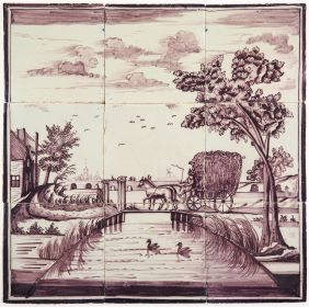 Antique Delft tile mural in manganese with a farmer brining in the hay, 19th century