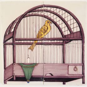 Antique Delft polychrome tile mural with a yellow canary in a manganese bird cage with a blue drinking glass, 19th century