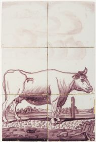 Antique Delft tile mural in manganese with a cow, 18th century