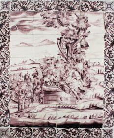 Antique Delft tile mural depicting Jesus and the Samaritan woman, 18th century