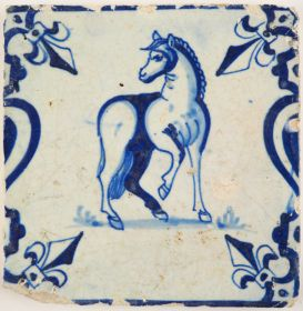 Antique Delft tile with a good looking horse