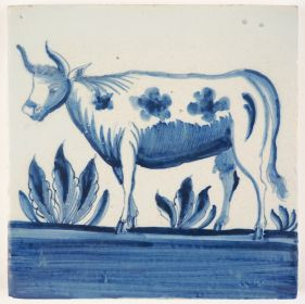 Antique Delft tile in blue with a cow, 18th century Harlingen