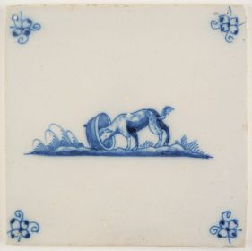 Antique Delft tile depicting the saying 'finding the dog in the pot', 18th century