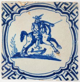 Antique Delft tile in blue with a horseman on a staggering horse, 17th century