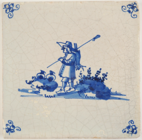 Antique Delft tile with a hunter carrying a caught hare on his shoulder, 18th century