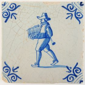 Antique Delft tile with a travelling merchant selling glasses, 17th century