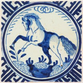 Antique Delft 'Crown' tile in blue with a staggering horse, 17th century Rotterdam