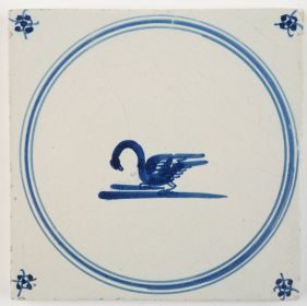 Antique Delft tile in blue with a swan, 18th century