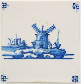 Antique Delft tile in blue with a windmill, 18th century
