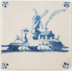 Antique Delft landscape tile in blue with a post mill and the miller, 18th century