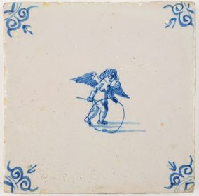 Antique Delft tile with Cupid playing with a hoop, 17th century
