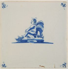 Antique Delft tile with Cupid overthinking life