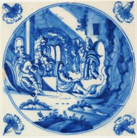Antique Delft Biblical tile in blue depicting the scene in which Peter is freed from prison by an Angel, 18th century Amsterdam