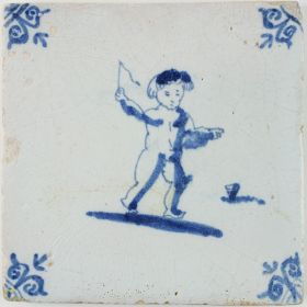 Antique Dutch tile with Putto playing with a spinning top, 17th century