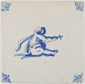 Antique Delft tile depicting the infant St. John the Baptist, 17th century