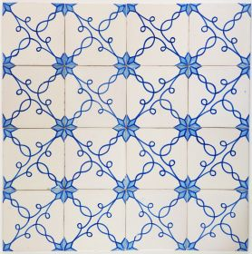 Antique Delft wall tiles with the Snake Star type II pattern, 19th century