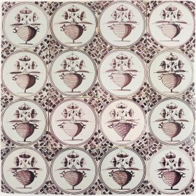 antique Dutch Delft wall tiles with onion shaped flower pots in manganese