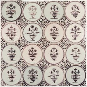 Antique Delft wall tiles in manganese with small flower pots, 18th and 19th century