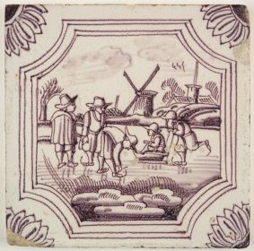 Antique Delft tile in manganese with a winter scene, 18th century