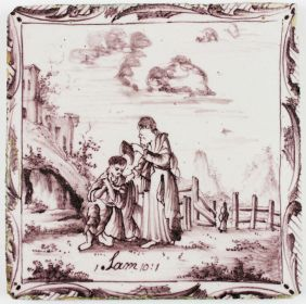 Antique Delft tile with Samuel pouring oil on Saul, 18th century