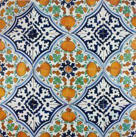 Antique Dutch Delft ornamental wall tiles with Orange Apples, 17th century